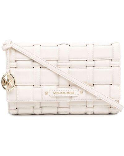 Плетеная белая сумка через плечо металлическая Michael Michael Kors