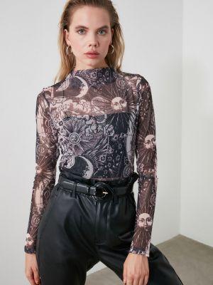 Czarna bluzka tiulowa Trendyol