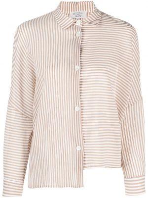 Хлопковая классическая рубашка в полоску с воротником Antonelli