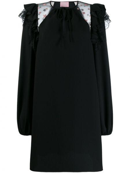 Czarna sukienka długa z długimi rękawami z printem Giamba