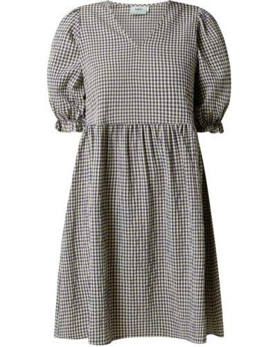 Niebieska sukienka rozkloszowana w kratę z wiskozy Moves