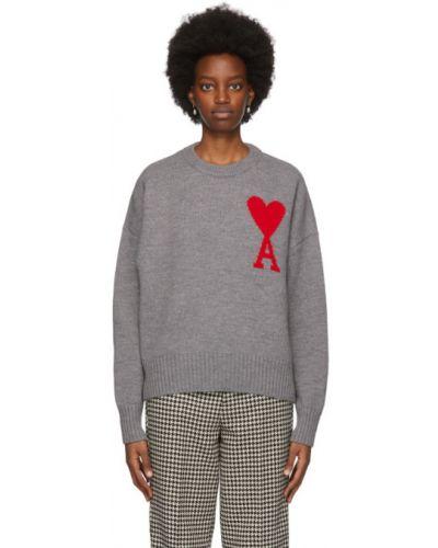 С рукавами шерстяной свитер с воротником с манжетами Ami Alexandre Mattiussi