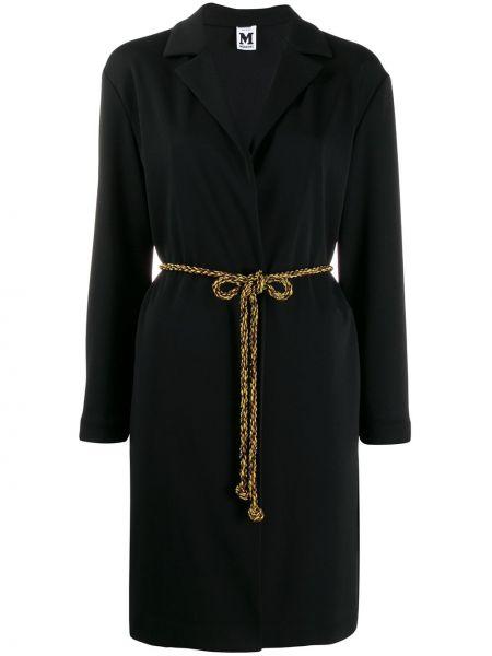 Черное пальто классическое с капюшоном M Missoni