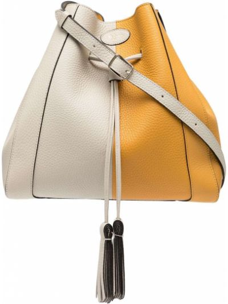 Żółta torba na ramię skórzana Mulberry