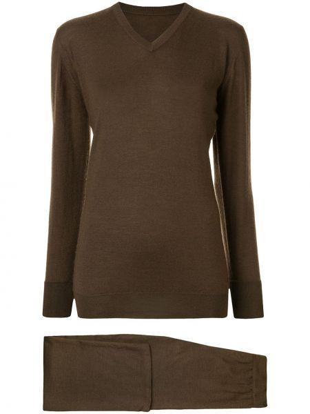 Прямой коричневый кашемировый вязаный костюм Chanel Pre-owned