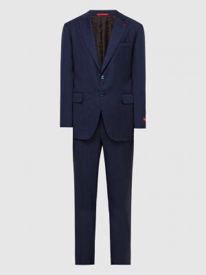 Костюмный синий кашемировый костюм Isaia