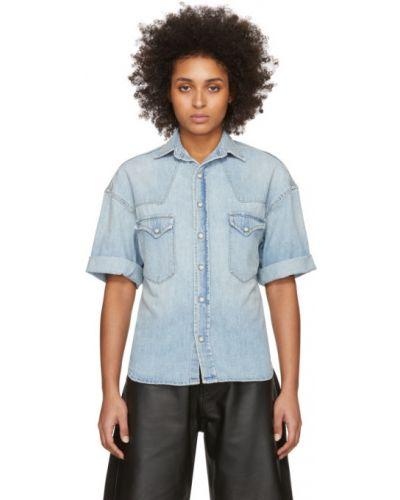 Srebro z rękawami koszula jeansowa z kołnierzem z mankietami R13