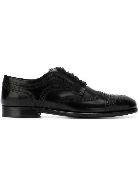 Buty brogsy skórzany czarny Dolce And Gabbana
