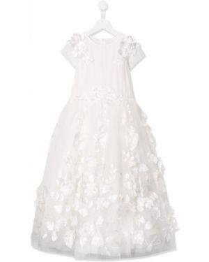 Sukienka mini rozkloszowana tiulowa krótki rękaw Aletta