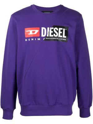 Bawełna z rękawami fioletowy bluza Diesel