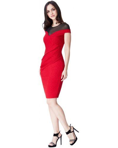 Красное вечернее платье со стразами без рукавов City Goddess