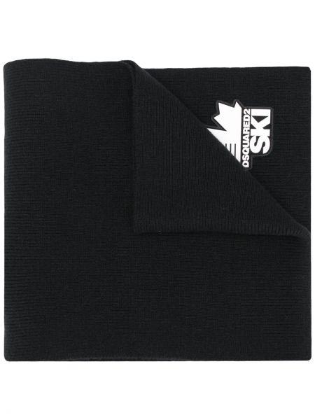 Шерстяной вязаный черный шарф вязаный с заплатками Dsquared2