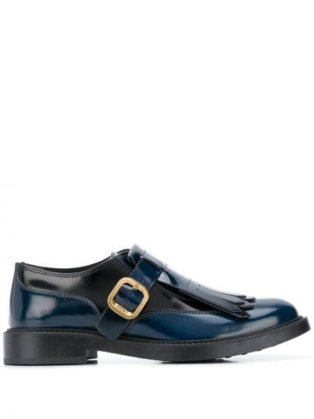 Niebieski skórzany buty brogsy okrągły nos z klamrą Tod's