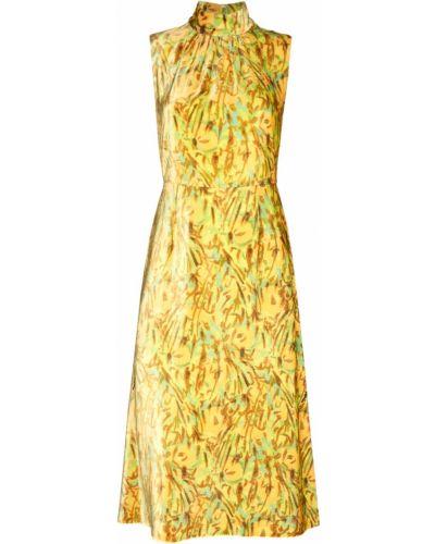 Платье миди с цветочным принтом со складками Prada