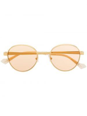 Złote żółte okulary Gucci Eyewear