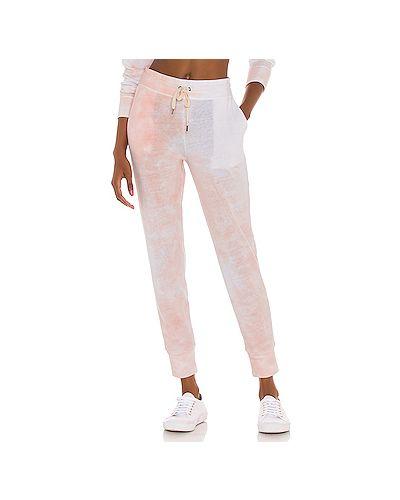 С кулиской шелковые персиковые брюки с карманами Splendid