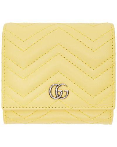 Srebro portfel skórzany z gniazdem z prawdziwej skóry wytłoczony Gucci