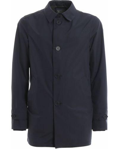 Niebieski płaszcz z kieszeniami od płaszcza przeciwdeszczowego Herno