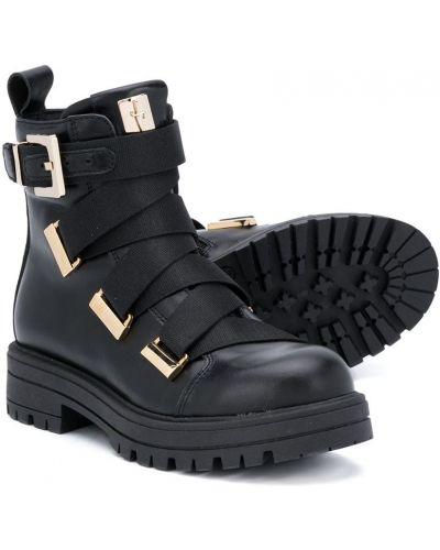 Кожаные черные ботильоны на шнуровке с пряжкой Cesare Paciotti Kids