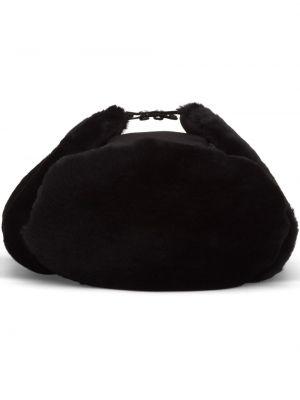Czarny czapka z nausznikami skórzany Prada