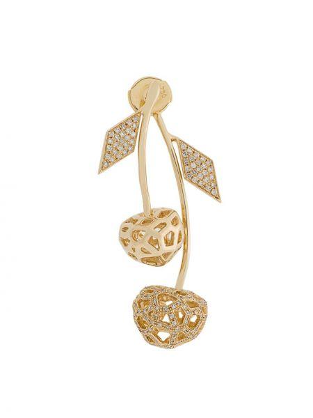 Золотые серьги красный с бриллиантом Natasha Zinko