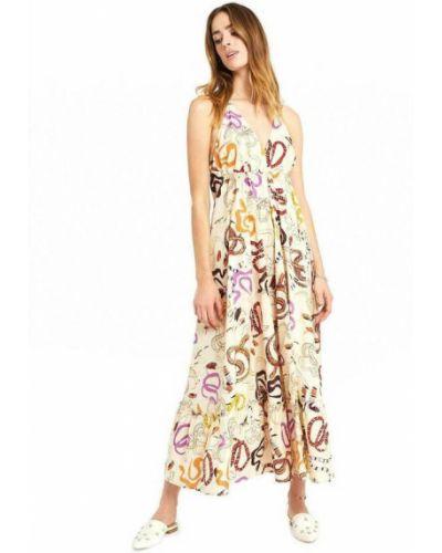 Beżowa sukienka długa Ottodame