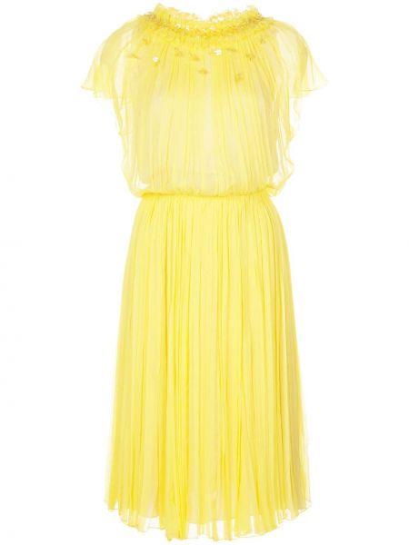 Нейлоновое желтое платье миди с вырезом с короткими рукавами Jason Wu Collection
