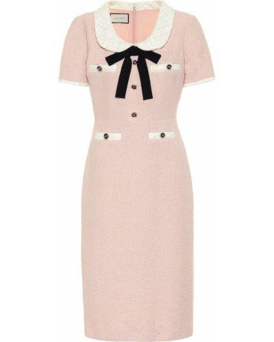 Платье миди твидовое розовое Gucci