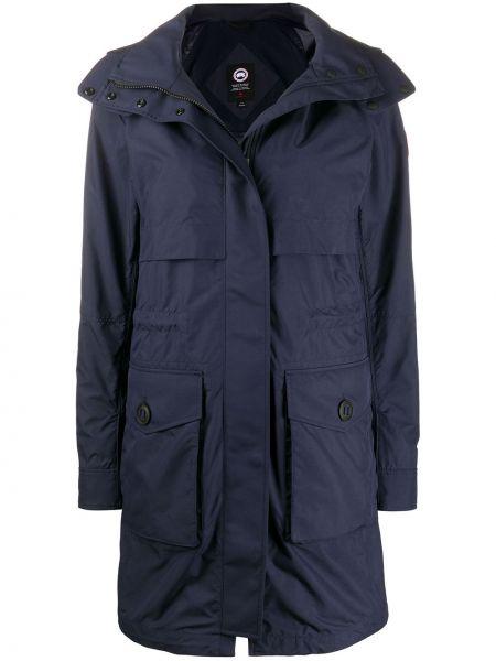 Нейлоновый длинное пальто с карманами с воротником Canada Goose
