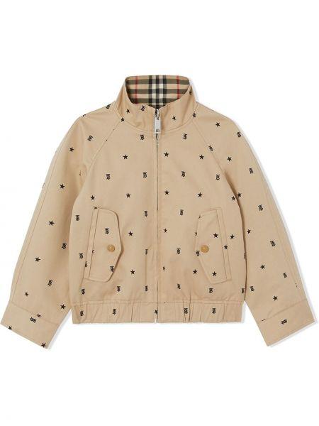 Ватная коричневая длинная куртка двусторонняя Burberry Kids