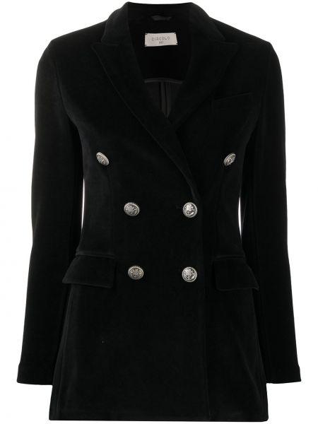 Черный приталенный удлиненный пиджак двубортный Circolo 1901