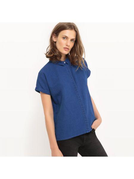 Джинсовая рубашка с коротким рукавом хлопковая La Redoute Collections