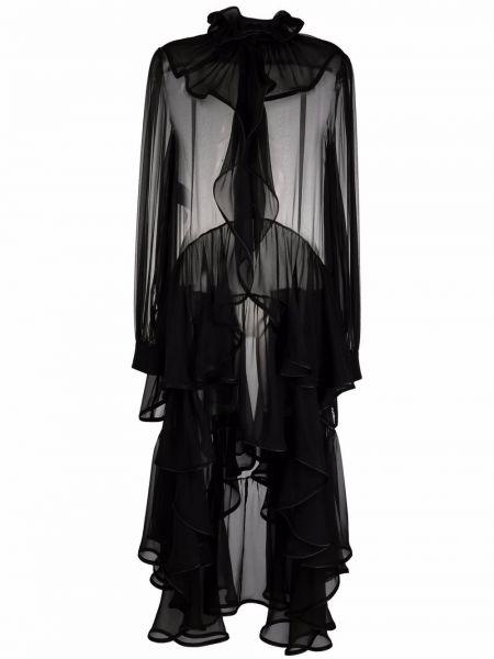 Шелковое платье миди - черное Alberta Ferretti