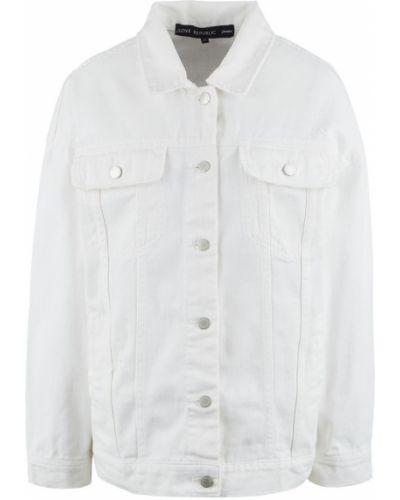 Белая джинсовая куртка оверсайз Love Republic