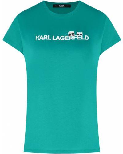 Футболка зеленый свободная Karl Lagerfeld