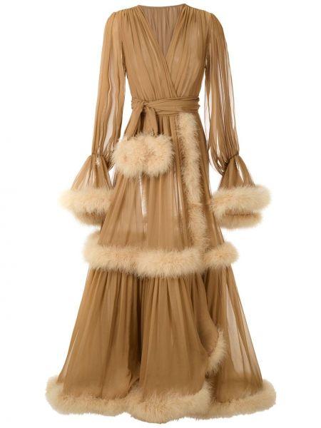 Шелковое платье с запахом с V-образным вырезом на молнии Dolce & Gabbana