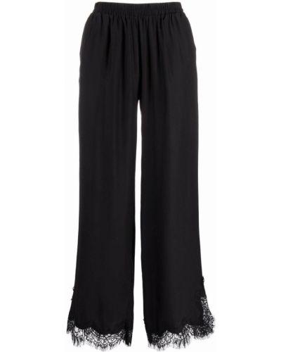Шелковые укороченные черные широкие брюки Gold Hawk