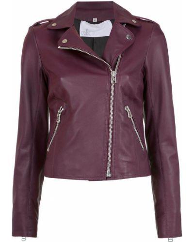Розовая кожаная длинная куртка байкерская Nk