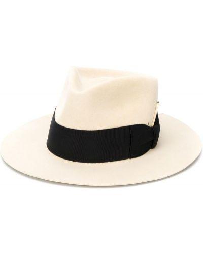 Бежевая фетровая шляпа-федора свободного кроя Nick Fouquet
