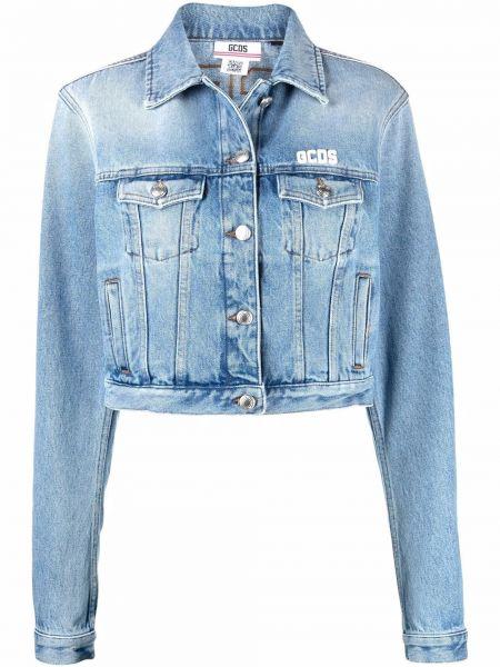 Синяя джинсовая куртка с вышивкой с воротником Gcds