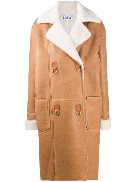 Белое кожаное длинное пальто оверсайз Loewe