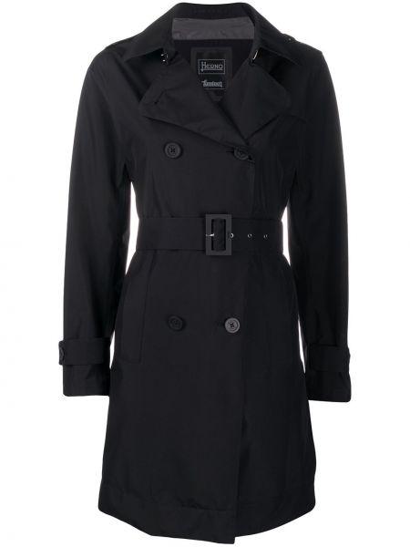 Długi płaszcz z kieszeniami z kołnierzem Herno