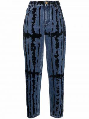 Синие джинсы с принтом Alberta Ferretti