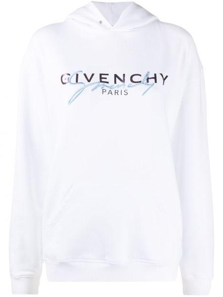 Biały bawełna bluza z kapturem z haftem Givenchy
