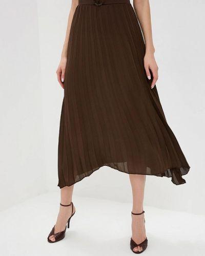 Плиссированная юбка весенняя коричневый Mango