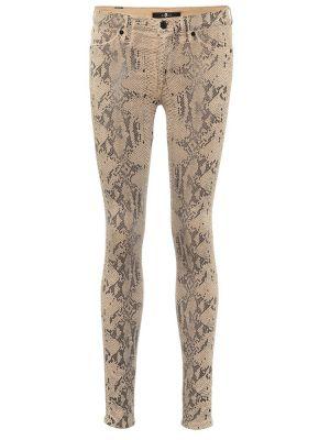 Ватные кожаные зауженные бежевые джинсы-скинни 7 For All Mankind