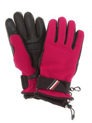 Розовые кожаные перчатки Moncler Grenoble