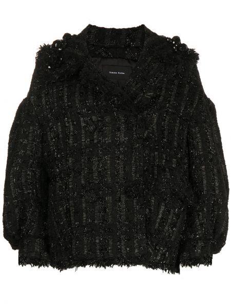 С рукавами черный пиджак с воротником из мохера Simone Rocha