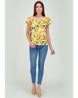 Блузка с открытыми плечами на резинке с цветочным принтом Viserdi