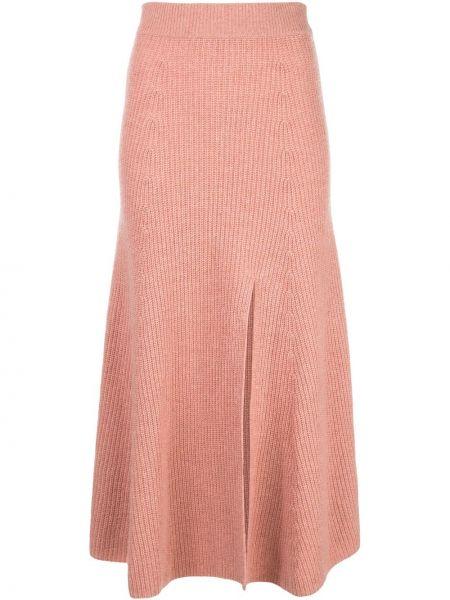 Розовая юбка с разрезом в рубчик с поясом Altuzarra